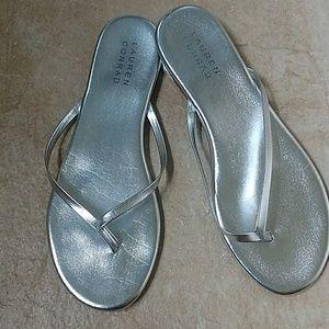Lauren Conrad silver flip flop sandals, size 8